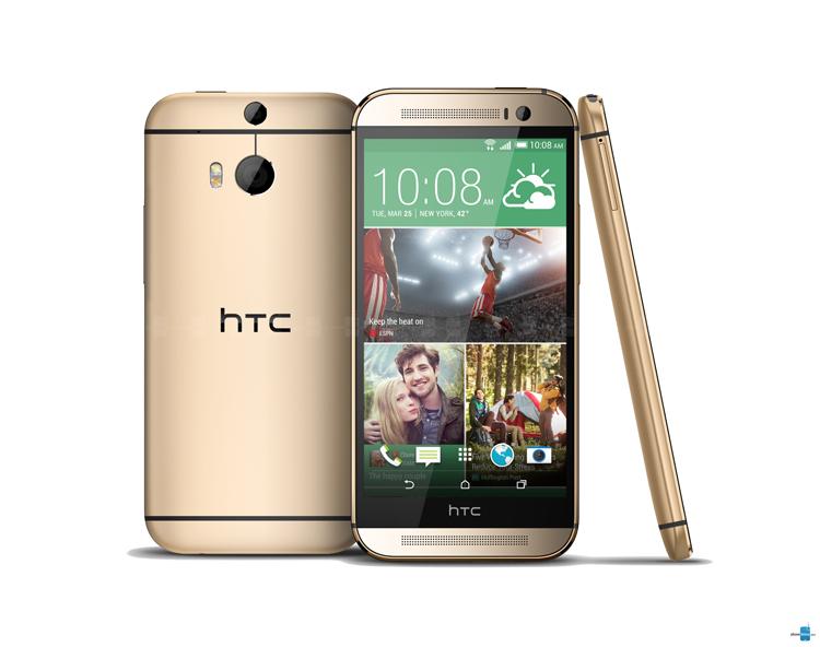 2. HTC One (M8)  Ra mắt hồi tháng 3/2014, HTC One M8 kim loại là smartphone đầu tiên trong năm 2014 có màu vàng. Sau M8, HTC còn giới thiệu hai điện thoại tương tự là One E8 và One M8 phiên bản Windows Phone nhưng đều không mang màu sắc hoàng gia.