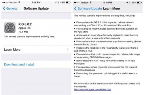 Bản vá iOS 8.0.2 sửa lỗi mất sóng trên iPhone 6 - 2