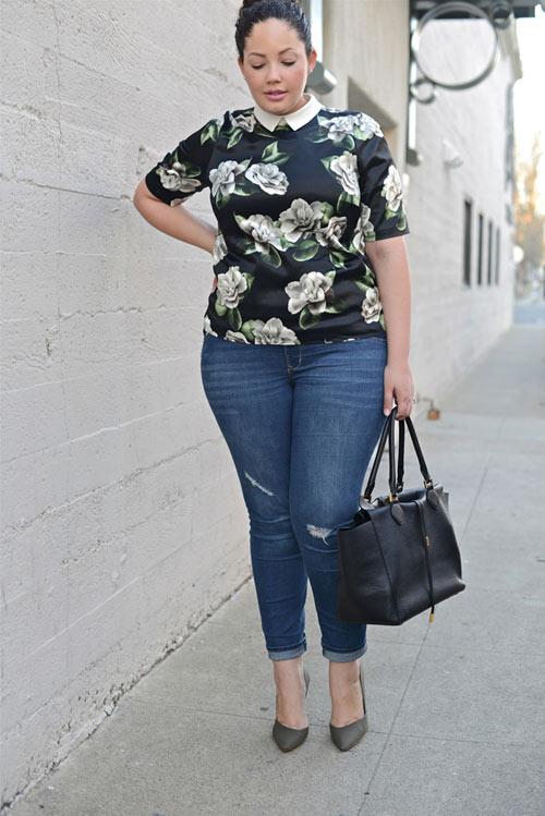 Mách nàng béo mặc quần jeans đẹp xuống phố - 4