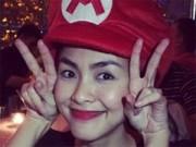 Tăng Thanh Hà khoe mũ Mario dễ thương