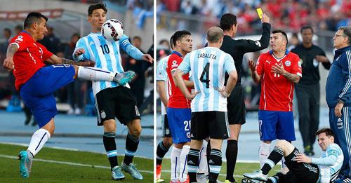 Messi nhận cú taekwondo của cầu thủ Chile - 1