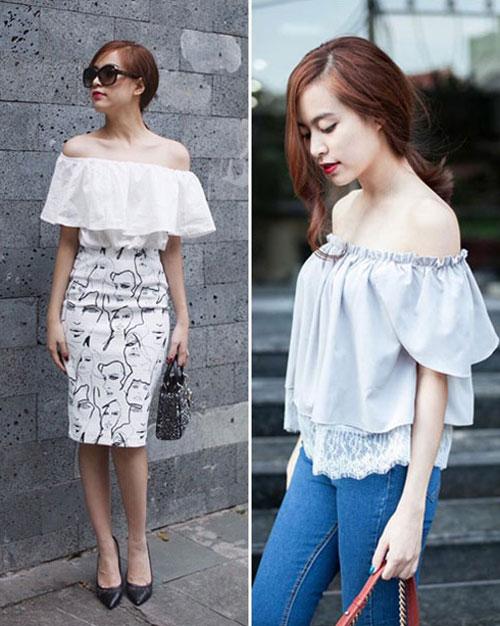 Chọn mua áo hở vai ngọt ngào như Hoàng Thùy Linh - 1