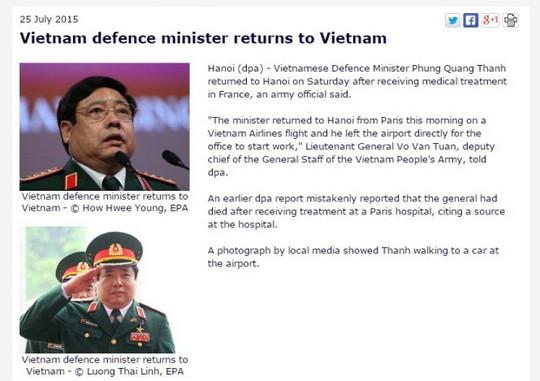Bộ trưởng Phùng Quang Thanh đủ sức khỏe làm việc - 2