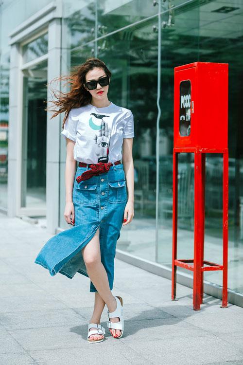 Gu mặc sành điệu của cô gái mê jeans trên phố Sài Gòn - 5