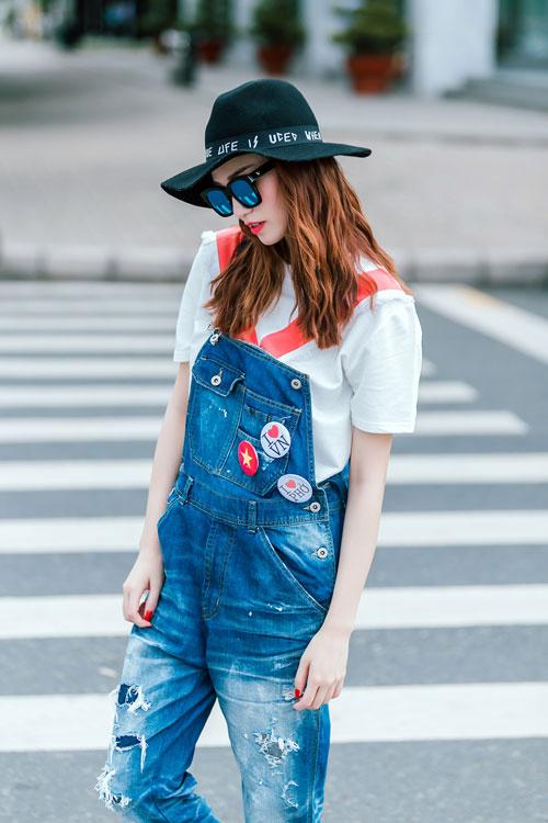 Gu mặc sành điệu của cô gái mê jeans trên phố Sài Gòn - 1
