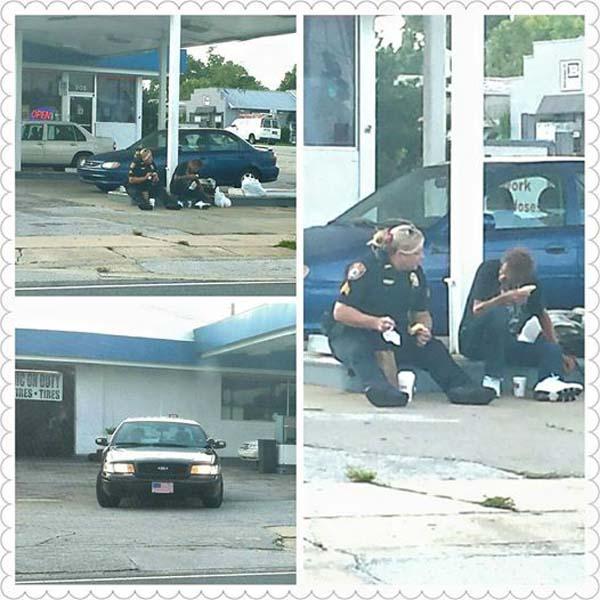 """Ảnh nữ cảnh sát Mỹ ăn sáng với người vô gia cư """"gây sốt"""" - 1"""