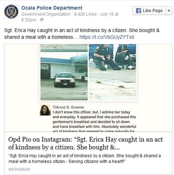 """Ảnh nữ cảnh sát Mỹ ăn sáng với người vô gia cư """"gây sốt"""" - 2"""