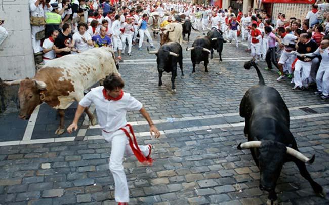 1. Lễ hội đấu bò tót Tây Ban Nha: Lễ hội này có tên gọi là San Fermin hay Running of the Bulls; diễn ra ở thành phố Pamplona, từ ngày 6 – 14/7 hàng năm.