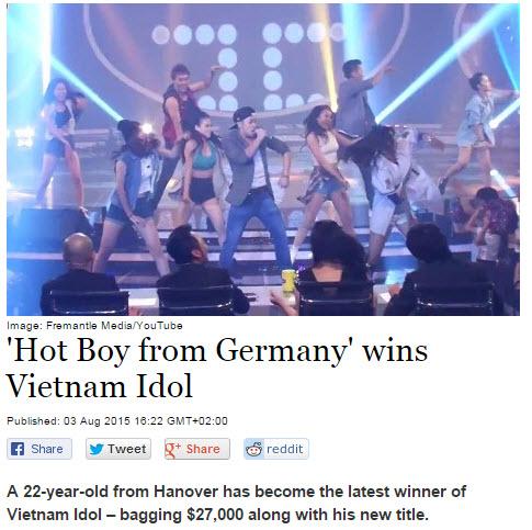 Báo Đức đưa tin Trọng Hiếu thành quán quân Vietnam Idol - 1