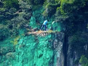 Kỳ nhân sơn 900 mét vách núi xanh lét cho... hợp phong thủy