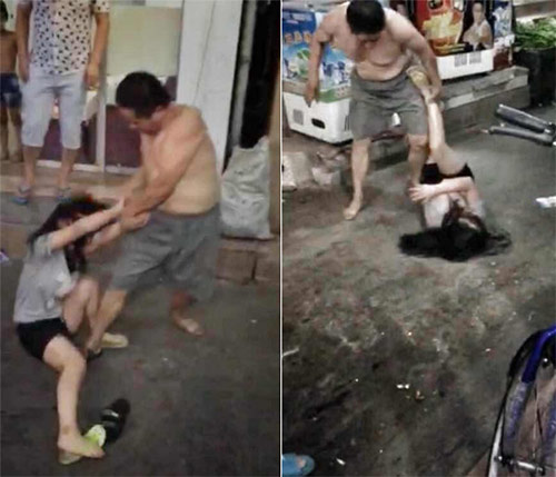 TQ: Phẫn nộ ông bố hành hung con gái giữa phố - 2