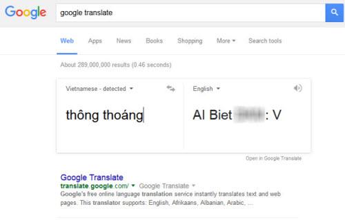 """Thử sử dụng Google Search để dịch từ """"thông thoáng"""" sang Tiếng Anh vào tối 8.9."""