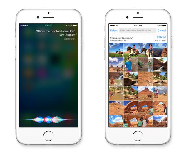 """1. """"Trợ lý ảo"""" Siri trên iOS9: Tín năng này sẽ thông minh hơn khi nhận được sự nâng cấp cần thiết để có thể cạnh tranh với Google Now. Trợ lý cá nhân của Apple có khả năng hiểu từ """"nó"""" trong các bối cảnh và mang lại tính chủ động cho hệ điều hành.  Ví dụ, nếu bạn đang nói về một chủ đề với một ai đó trong iMessages và yêu cầu Siri """"Nhắc tôi về 'điều này' vào ngày mai"""". Nó sẽ quét các ứng dụng mở và cố gắng hiểu từ """"này"""" có thể có nghĩa là gì.  iOS 9 để cho bạn nắm sự chủ động nhiều hơn trong tay thông qua Siri. Nó có thể gợi ý các cuộc hẹn có thể được thêm vào Calendar, và kéo lên những bức ảnh dựa trên địa điểm và thời gian cùng với âm thanh của giọng nói của bạn.  Kiến thức dựa trên nhận dạng địa điểm của Siri dường thực sự là điều hứa hẹn nhất mỗi khi bạn ra ngoài. Bạn đang đeo tai nghe ở trong phòng tập thể dục? Nó sẽ cung cấp các giao diện Now Playing ngay trên màn hình khóa của bạn.  Cắm nó vào chiếc xe của bạn? Nó sẽ mang lại cho bạn các audiobook mà bạn đã được nghe trước đây. Nó thậm chí sẽ cho bạn biết khi nào phải rời đi để đến một cuộc hẹn sắp tới, một tính năng mà các ứng dụng của Google dành cho iOS phải có."""