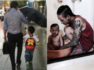 Những hình ảnh xúc động về tình cha con