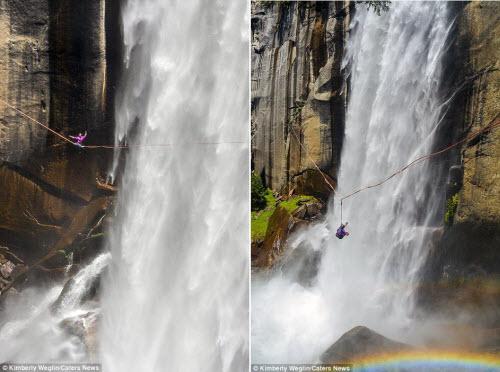 Thót tim cô gái tập yoga trên sợi dây cạnh thác nước - 5