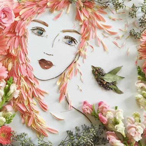 Thiếu nữ gợi cảm hút hồn làm từ hoa tươi - 1