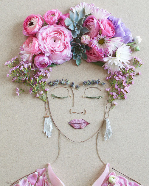 Thiếu nữ gợi cảm hút hồn làm từ hoa tươi - 4