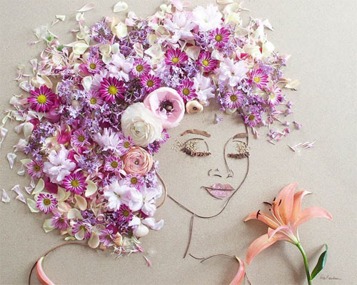 Thiếu nữ gợi cảm hút hồn làm từ hoa tươi - 9