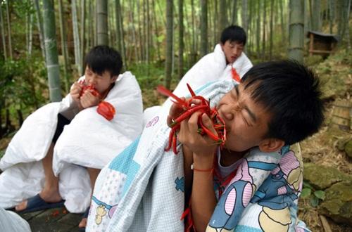 Thanh niên TQ quấn chăn, ăn ớt giữa tiết trời 38 độ - 2