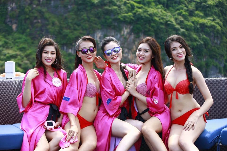 Dàn mỹ nữ Hoa hậu Việt Nam gợi cảm trên du thuyền 5 sao - 1