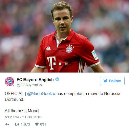 Chuyển nhượng ngày 21/7: Gotze CHÍNH THỨC về Dortmund - 1