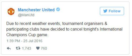Man City – MU: Hủy bỏ trận derby vì thời tiết xấu - 1