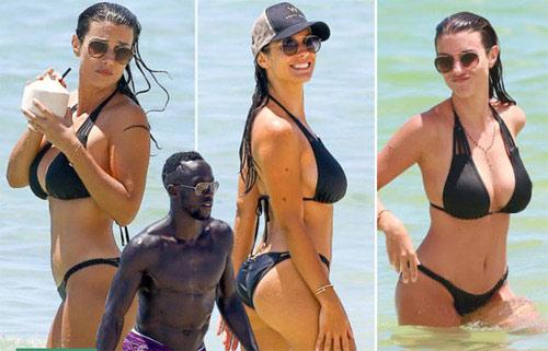 Vợ Sagna khoe vẻ đẹp vạn người mê ở bãi biển Miami - 1