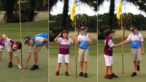 Golf 24/7: 2 cậu nhóc so tài đánh 1 gậy trúng lỗ - 1