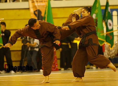 Nữ võ sỹ Tây múa kiếm, đánh côn ở giải võ Việt Nam - 9
