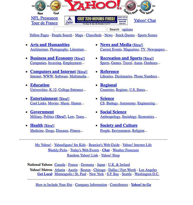 """Trang Yahoo! năm 1997.  Yahoo! từng là  """" ông trùm """"  môi thời trên môi trường internet."""