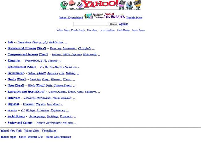 Trang Yahoo! năm 1996.  Vào tháng 1.1996, hai sinh viên & nbsp;Jerry Yang và & nbsp;David Filo ở Trường Đại học Standford đã tạo ra website này và đặt tên là & nbsp; Jerry and David s Guide to the World Wide Web  (tạm dịch: Hướng dẫn đến với thế giới web của Jerrry và David). 3 tháng sau đó, trang web được đổi tên thành Yahoo!.