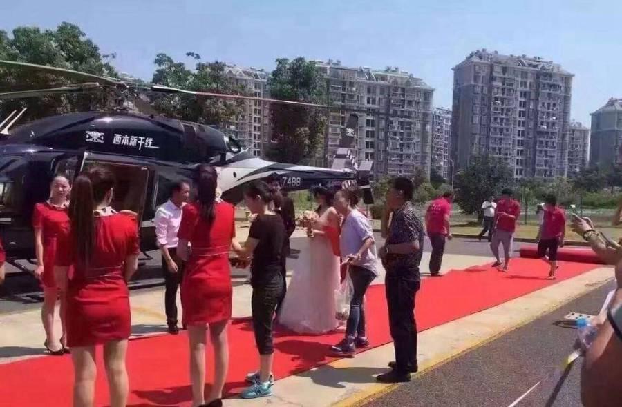 Cặp đôi TQ vung tiền thuê trực thăng đưa đến đám cưới - 3