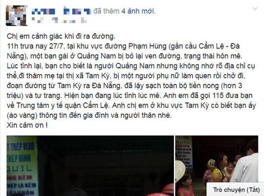 """Bí ẩn cô gái bị """"hôn mê"""" bên đường ở Đà Nẵng - 1"""