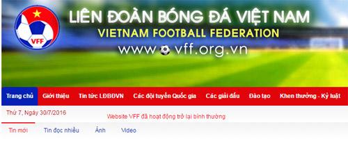 Website LĐBĐ Việt Nam hoạt động trở lại sau sự cố tin tặc - 1