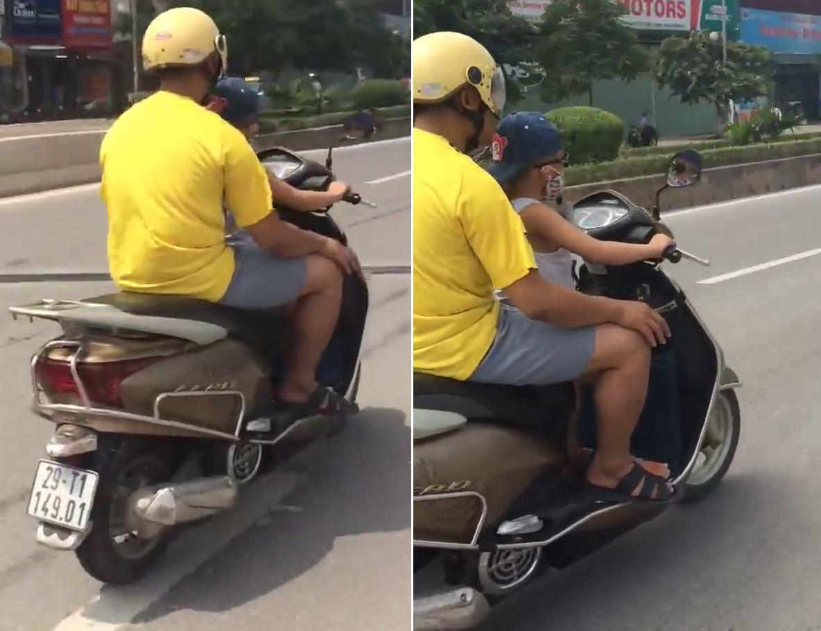 Clip: Thót tim xem bé trai lái xe máy vi vu giữa HN - 1