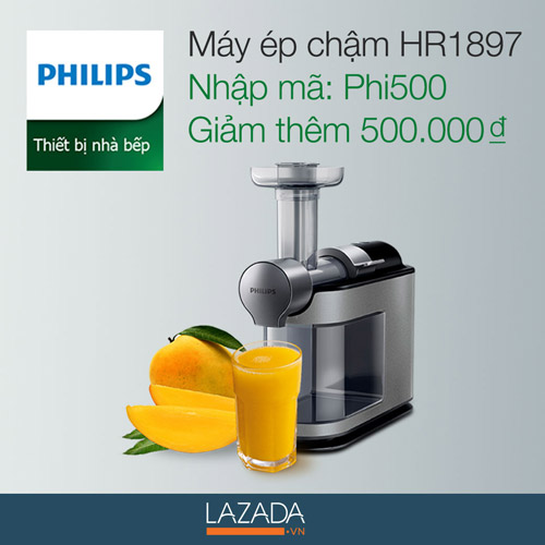 Lazada ưu đãi lớn khi mua máy ép chậm Philips HR1897 - 5
