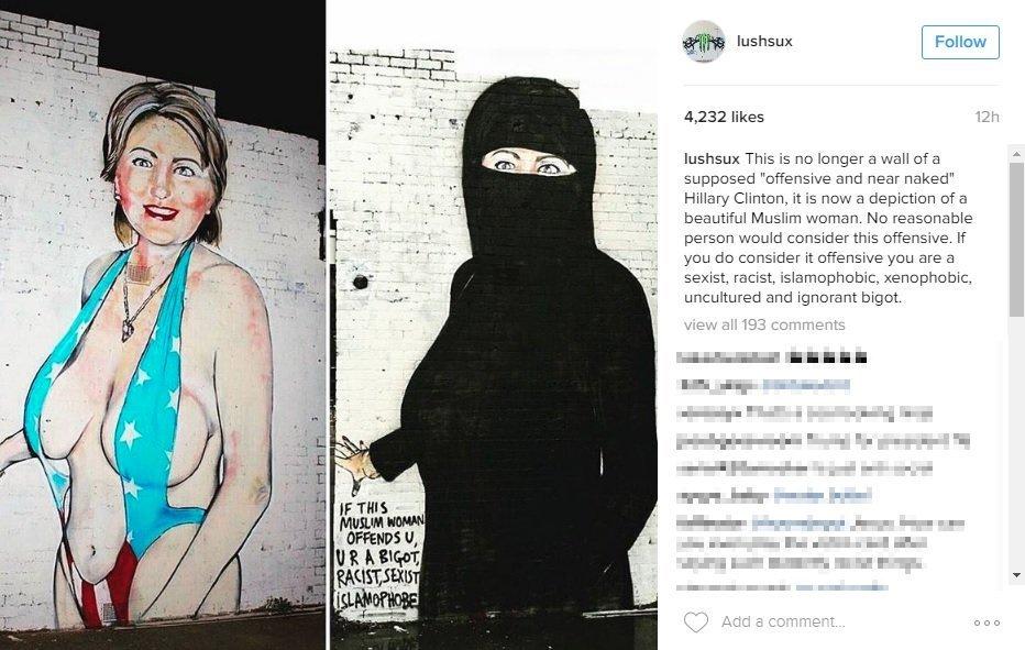 Bức tranh bà Clinton ăn mặc hở hang gây tranh cãi ở Úc - 2