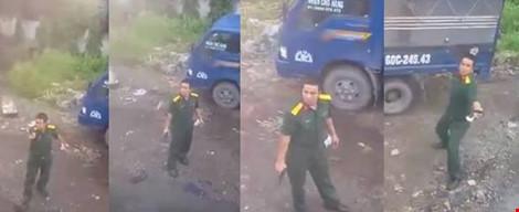 Xác định quân nhân rút súng chĩa về tài xế xe container - 1