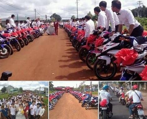 Rước dâu bằng 90 xe Exciter xôn xao ở Bình Phước - 1