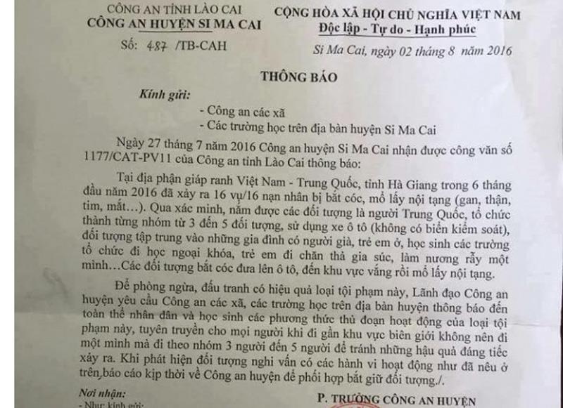 CA Hà Giang bác tin 16 vụ bắt cóc trẻ em mổ nội tạng - 1
