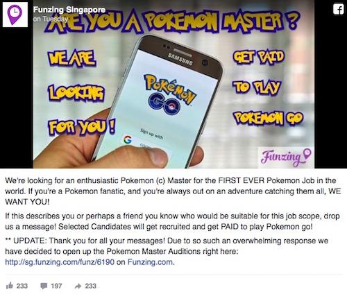 Singapore: Một công ty đăng tin tuyển cao thủ săn Pokémon - 1