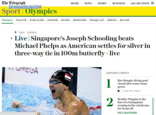 Olympic: Lật đổ Phelps, báo chí đưa Schooling lên đỉnh - 1