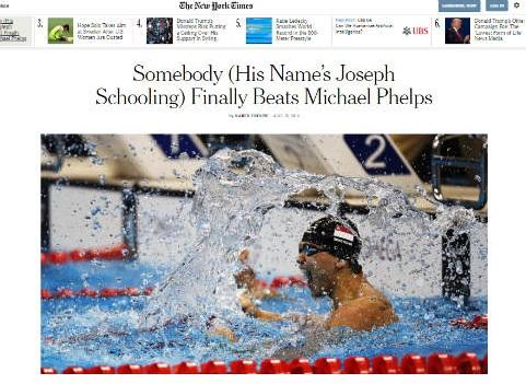 Olympic: Lật đổ Phelps, báo chí đưa Schooling lên đỉnh - 2