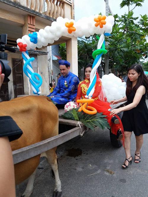 Chú rể Tây tự tay đánh xe bò rước dâu tại Bình Thuận - 2