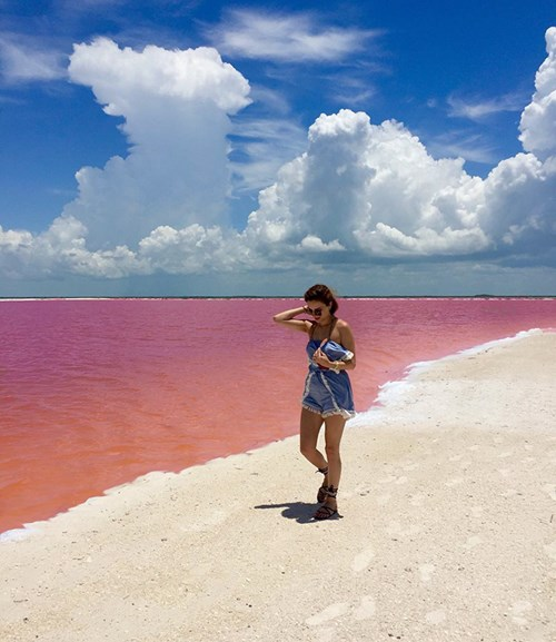 """Vẻ đẹp siêu thực của hồ nước hồng có """"1-0-2"""" ở Mexico - 1"""