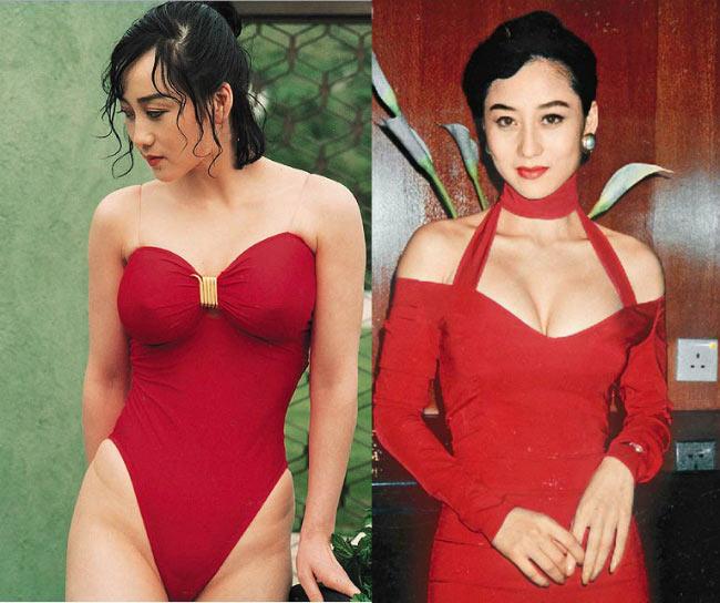"""Những hình ảnh thời trẻ của Lợi Trí, vợ Lý Liên Kiệt trong trang phục bikini càng khiến nhiều người  """" toát mồ hôi """" . Cô không những mặc chiếc áo tắm hở hông táo bạo mà còn lộ phần ngực không mặc đồ lót."""