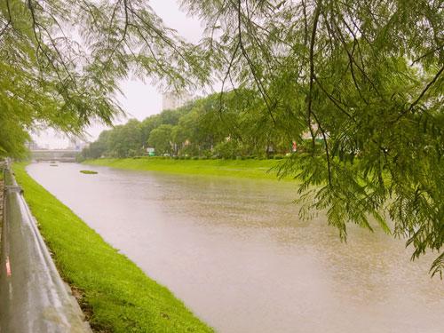 Sông Tô Lịch đen ngòm bỗng đẹp lạ lùng sau cơn bão - 2