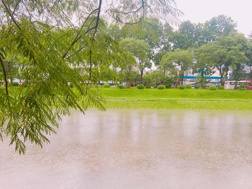 Sông Tô Lịch đen ngòm bỗng đẹp lạ lùng sau cơn bão - 3