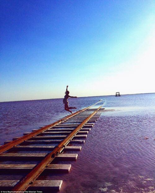 Hồ nước chuyển màu hồng bí ẩn ở Siberia - 4