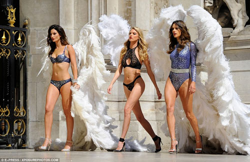 4 siêu mẫu mặc nội y, đeo cánh khuấy đảo nhà hát Paris - 1